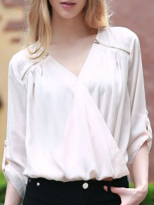 Solid Color V-Neck 3/4 Sleeve Crossed Blouse