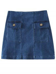 Two Pockets Denim Mini Skirt - Blue M