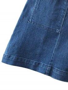 Two Pockets Denim Mini Skirt - BLUE S