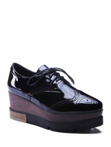 Lace-Up Engraving Black Platform Shoes - Black 37