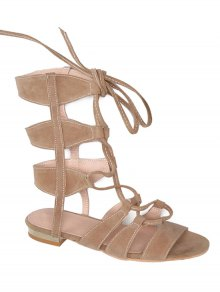 Solid Color Lace-Up High Top Sandals - Apricot