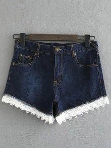 Lace Denim Shorts - Deep Blue