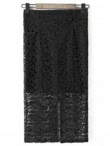 Guipure Lace Tube Skirt - Black S