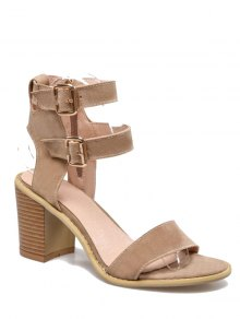 Solid Color Double Buckles Chunky Heel Sandals - Apricot