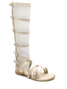 Buckles High Top Sandales Talon Plat - Blanc Cassé
