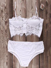 Zip Up Lace Cami Bikini Set - White