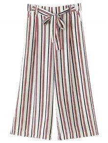 Self-Tie Striped Wide Leg Pants - White