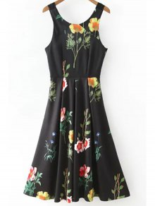 Floral Print Scoop Neck Waisted Dress