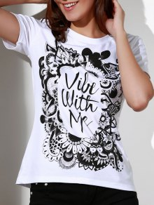 Patterned White T-Shirt