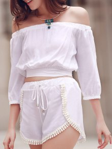 Off The Shoulder Crop Top And Solid Color Shorts Suit - White