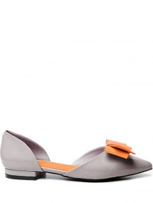 Two-Piece Color Block Chaussures Plates Bowknot - Gris