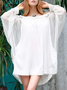 Off The Shoulder Loose See-Through Bat-Wing Sleeve Dress - White S