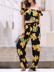 Cold Shoulder Ruffle Crop Top And Palazzo Pants Twinset - Black