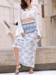 Bell Sleeve White Crop Top