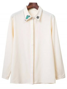 Embroidered Turn Down Collar Long Sleeve Shirt - Beige S