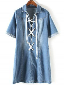 Denim Lace Up Turn Down Collar Short Sleeve Dress