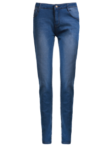 High Waisted Skinny Pencil Jeans - Blue