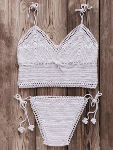 Crocheted Spaghetti Straps Bikini Set - White