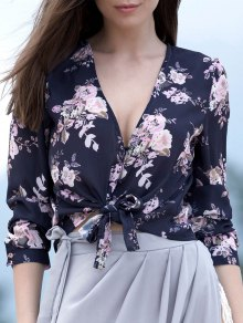 Tied Floral Print Plunging Neck Long Sleeve Blouse - Purplish Blue