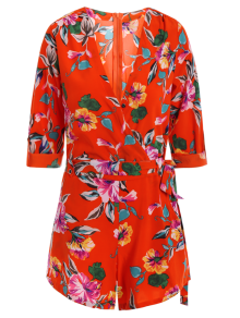 Bowknot Floral Print V Neck 3/4 Sleeve Romper - Red M