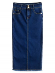 Fitted Packet Buttock High Waist Denim Skirt
