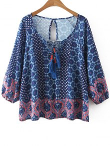 Printed Scoop Neck 3/4 Sleeve Blouse