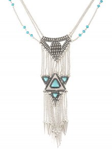 Faux Turquoise Triangle Tassel Necklace