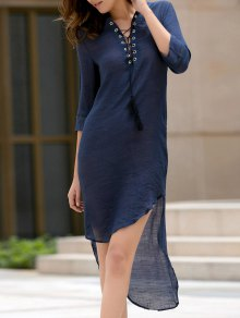 High Low Hem Plunging Neck Dress - Deep Blue Xl