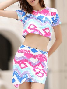 Argyle Print Short Sleeve Crop Top And Mini Skirt Suit - M