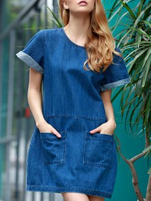 Hemming Double Pockets Round Neck Short Sleeve Denim Dress