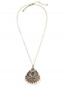 Retro Round Hollow Out Pendant Necklace - Golden