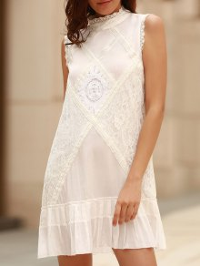 Lace Splice Round Neck Sleeveless Dress