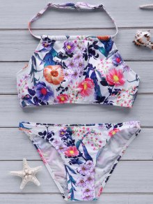 Flower Print High Neck Bikini Set
