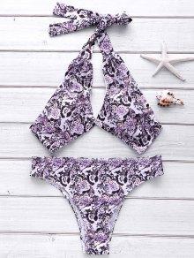 Full Floral Halter Bikini Set - L