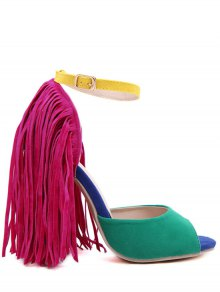 Color Block Peep Toe Fringe Sandals - Green
