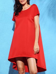 Loose Solid Color High Low Dress