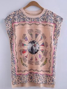 Printed Round Collar High-Low Hem T-Shirt - Yellowish Pink