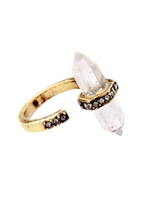 Rhinestone Etched Natural Stone Ring