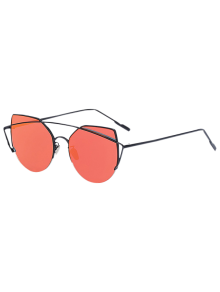 Black Crossbar Cat Eye Mirrored Sunglasses
