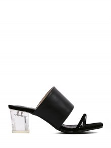 PU Leather Crystal Heel Black Slippers