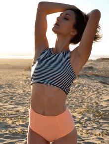 Stripe Round Neck High Waisted Bikini Set - Orangepink