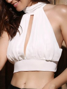 Cut Out Tie Back Sleeveless Crop Top