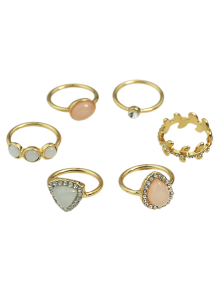 Faux Opal Rhinestone Water Drop Rings - Golden