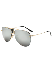 Trapezoid Hollow Out Pilot Mirrored Sunglasses