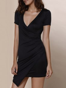 Plunging Collar Asymmetrical Bodycon Dress - Black