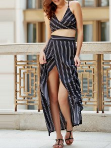 Striped Spaghetti Straps Backless Crop Top