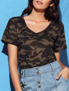 V Neck Short Sleeve Camo T-Shirt