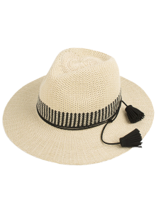 Tassel Lace-Up Sun Hat - Off-white