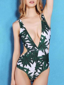 Bamboo Leaf Print Plunging Neck One-Piece Swimwear - Green