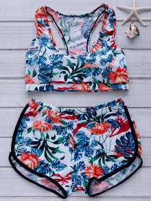Printed Crop Top And Boyshorts Bikini - Green